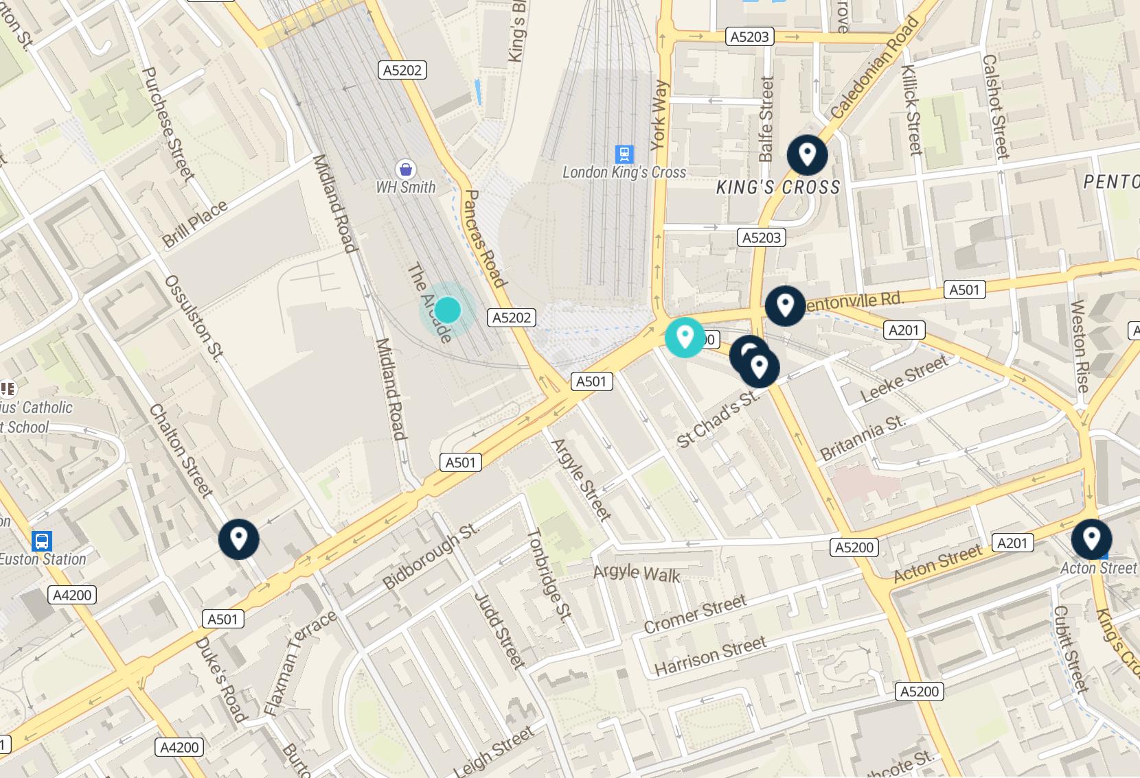 st pancras station map: luggage storage