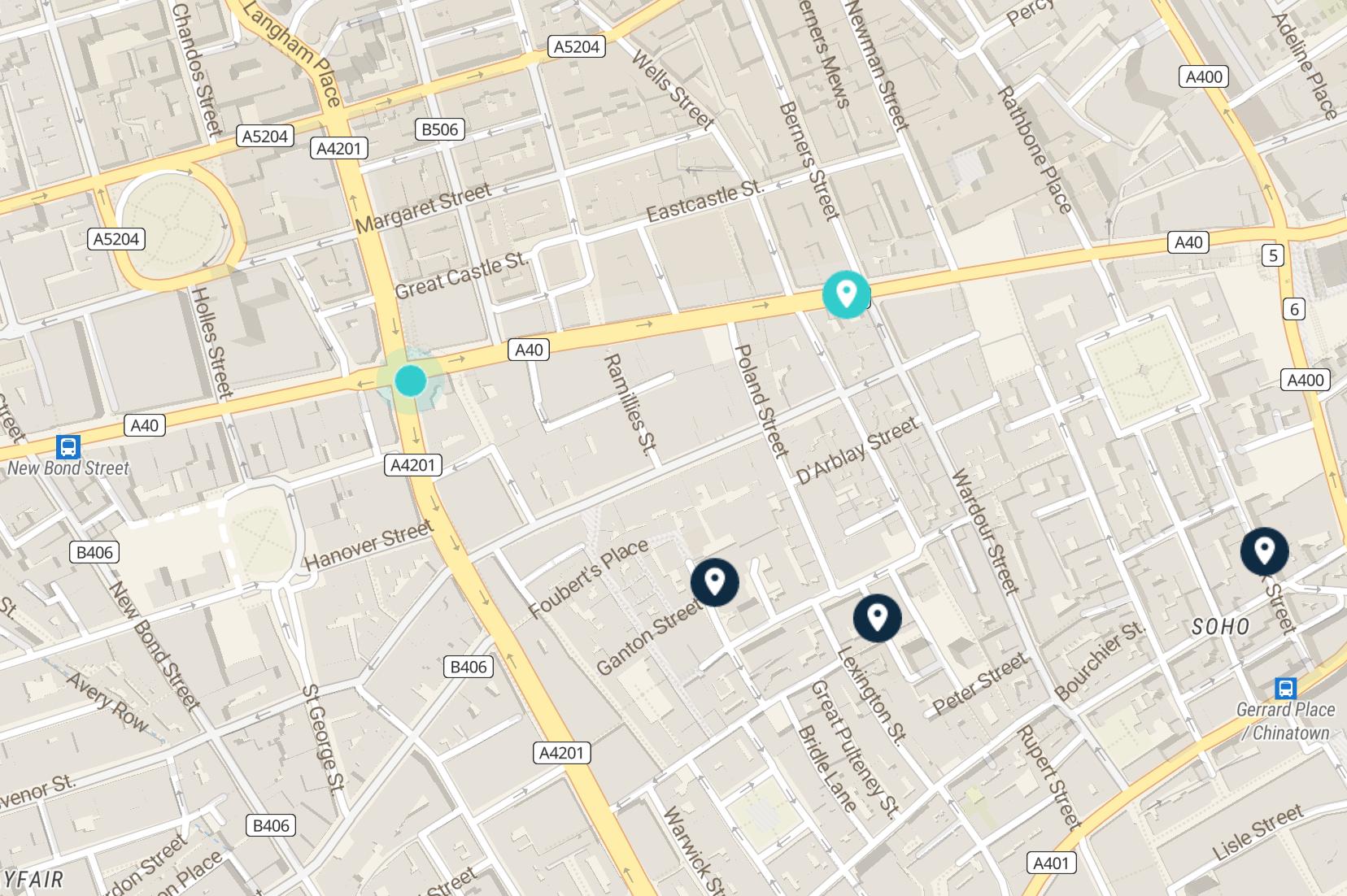 oxford street map: luggage storage